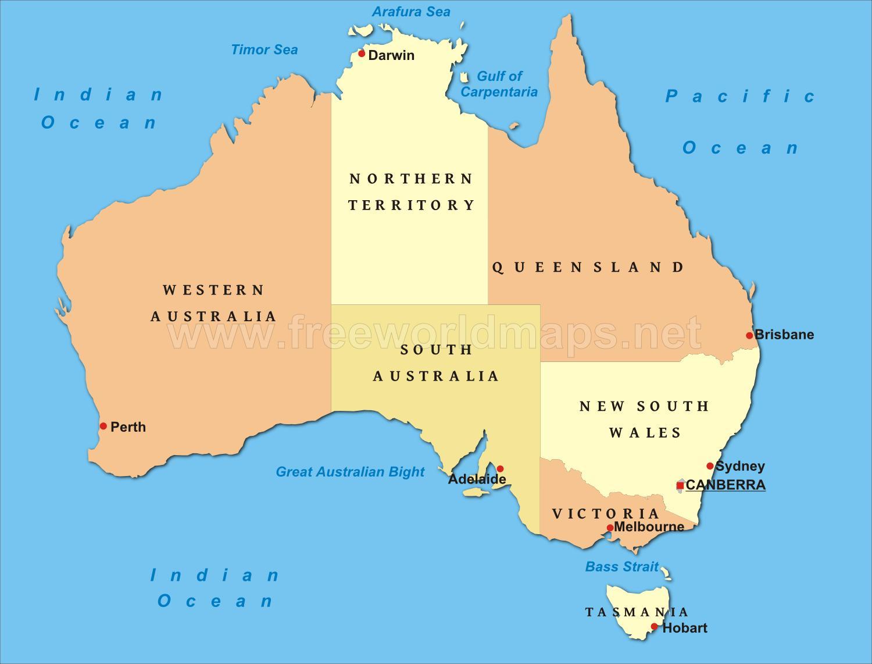 ausztrália térkép Politikai térkép Ausztrália   Australia térkép politikai